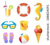 set of different beach items... | Shutterstock . vector #188824091