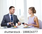 restaurant  couple and holiday... | Shutterstock . vector #188826377