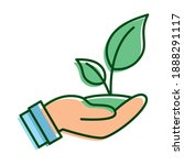 hand lifting leafs plant... | Shutterstock .eps vector #1888291117