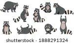 funny raccoon with dexterous... | Shutterstock .eps vector #1888291324