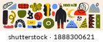 big set of hand drawn various... | Shutterstock .eps vector #1888300621
