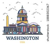 outline washington dc usa city...   Shutterstock .eps vector #1888302367