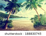 Stock photo sunset on the beach takamaka mahe island seychelles 188830745