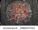 Small photo of Kettle Grill Pit With Flaming Charcoal. Top View Of BBQ Hot Kettle Grill With Stainless Steel Grid, Isolated Background, Overhead View. Barbecue Kettle Grill On Backyard Ready Grilling Cookout Food.