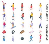 physical activity icons set.... | Shutterstock .eps vector #1888414597