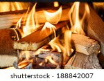 Close Up Of Firewood Burning In ...