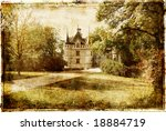 vintage picture with castle - stock photo