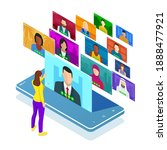 isometric video conference.... | Shutterstock .eps vector #1888477921