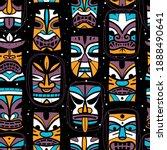 hawaiian tiki masks. idols...   Shutterstock .eps vector #1888490641