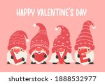 dwarfs or gnomes hold pink...   Shutterstock .eps vector #1888532977