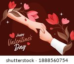 happy valentine's day font with ... | Shutterstock .eps vector #1888560754