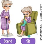 opposite words with stand and...   Shutterstock .eps vector #1888604494