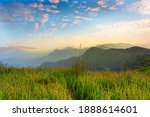 Mountain valley during sunrise. Beutiful natural landsscape in the summer time