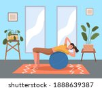 woman doing fitness exercise at ... | Shutterstock .eps vector #1888639387