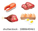 flat icons of raw meat  fish... | Shutterstock .eps vector #1888640461