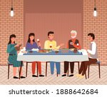 table with khinkali and...   Shutterstock .eps vector #1888642684
