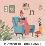 relaxed woman girl reading book ... | Shutterstock .eps vector #1888668217