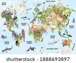world animal map hand drawn... | Shutterstock . vector #1888693897