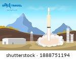 spaceship start. industrial... | Shutterstock . vector #1888751194