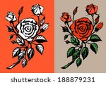 red roses. vector illustration. | Shutterstock .eps vector #188879231