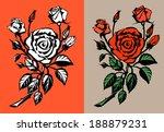 red roses. vector illustration. | Shutterstock .eps vector #188879231