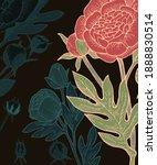 peony  rose flowers. background ... | Shutterstock .eps vector #1888830514