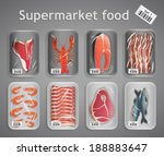 frozen fresh fish and meat... | Shutterstock .eps vector #188883647