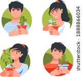 four icons with people who like ...   Shutterstock .eps vector #1888866034