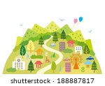 illustrations of fun town | Shutterstock .eps vector #188887817