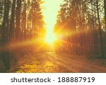 forest road under sunset... | Shutterstock . vector #188887919