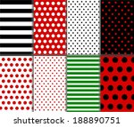 Jumbo and Small Polka Dots and Diagonal Stripes Patterns in Red, Black, White and Deep Green. vector art image illustration - stock vector