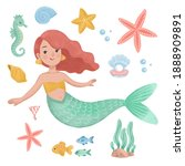 cute mermaid illustration with...   Shutterstock . vector #1888909891