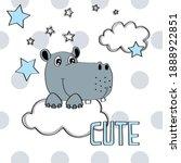 Cute Hippo On The Cloud Vector...