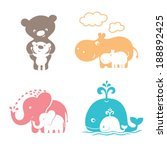 Stock vector cute animals family mom bear and baby bear mama hippo and baby hippo mother elephant and baby 188892425