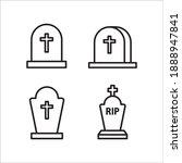 Funeral Gravestone Icon Vector...