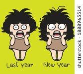 desperate screaming girl with... | Shutterstock .eps vector #1888965514