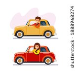 man and woman driving cars. red ...   Shutterstock .eps vector #1888968274