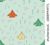 doodle tent seamless pattern....   Shutterstock .eps vector #1888994971