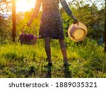 A Teenage Girl At Sunset In A...