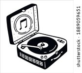 Turntable record player in suitcase, doodle sketch. Gramophone in naive illustration style. Hand drawn vector picture isolated on white.