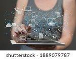 cloud technology. polygonal...   Shutterstock . vector #1889079787