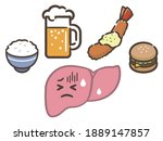illustration set of liver... | Shutterstock .eps vector #1889147857