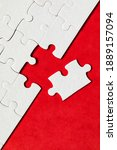 white jigsaw puzzle pieces....   Shutterstock . vector #1889157094