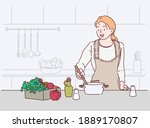 young woman cooking in the... | Shutterstock .eps vector #1889170807