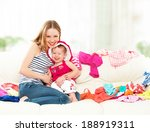 happy mother and baby girl with ... | Shutterstock . vector #188919311