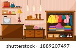 clothes hanging in wardrobe...   Shutterstock .eps vector #1889207497