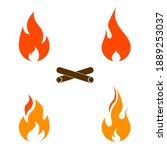 fire and flame icons set vector. | Shutterstock .eps vector #1889253037