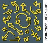 set of yellow arrows. grunge... | Shutterstock .eps vector #1889271484