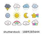 cute cloud weather  sun  moon ... | Shutterstock .eps vector #1889285644