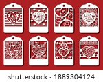 heart tags for laser cut....   Shutterstock .eps vector #1889304124